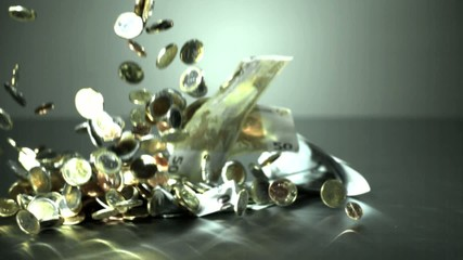 Euro coins and notes falling down - High Speed - 105