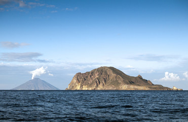View from sailing boat, Stromboli at the left.