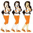 若い女性の挿絵カットイラスト(オレンジ系ウェーブロングヘアー)3パターン