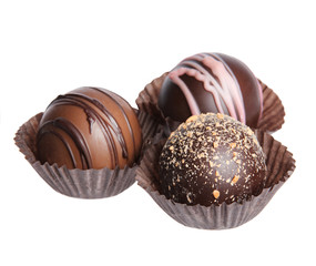 Chocolate candies. Collection of Belgian truffles in wrapper