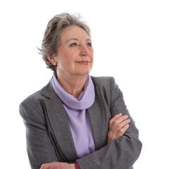 Ältere Frau mit grauen Haaren isoliert - Gelassenheit