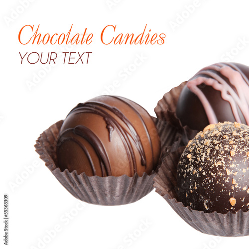 collection of delicious chocolate candies isolated