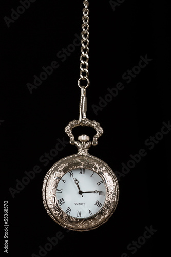 Silver pocket watch hang on chain