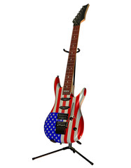 Elektrogitarre mit USA Fahne
