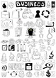 business doodle design elements, hand drawn illustration