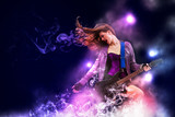 Fototapety Rock passionate girl with black wings
