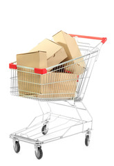 Shopping cart with carton, isolated on white