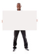 Business man holding  a banner ad