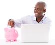 Business man saving online