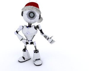 Robot in santa hat