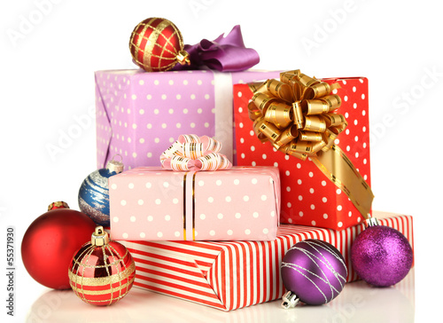 Gifts with christmas decorations, isolated on white