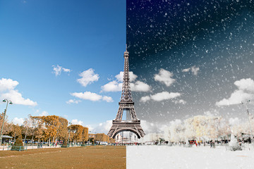 The Eiffel Tower in Paris, France - Season Chnage Concept