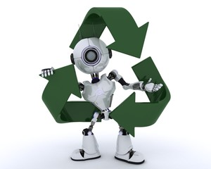 Robot with recycle logo