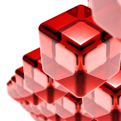 red glass cubes isolated on white