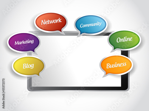 tablet and app message tools illustration