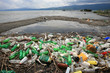 a pile of garbage and plastic bottles on the lake shore - 55372553