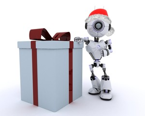 Robot with christmas gift