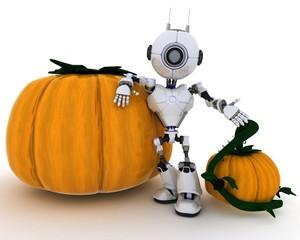Robot with jack-o-lantern