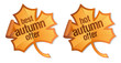 Best autumn offer stickers in the form of a maple leaves.