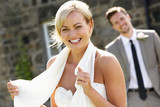 Romantic Bride And Groom Outdoors