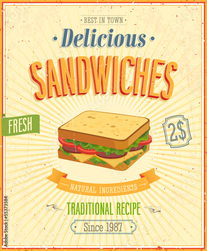 Vintage Sandwiches Poster. Vector illustration.