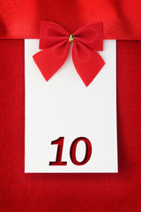 Number ten on red greeting card