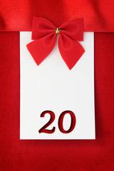Number twenty on red greeting card