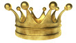 Old golden crown 3D render isolated on white
