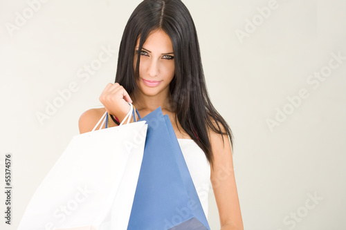 Gorgeous young brunette shopper.