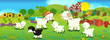 Cartoon illustration with sheep family on the farm