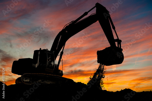 track-type loader excavator at work - 55375326