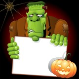 Frankenstein Monster Halloween Cartoon with White Panel