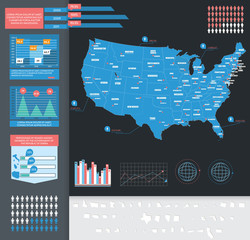 Infographic vector illustration with Map of USA