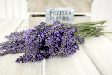 Closeup of bunch of lavender on a white table