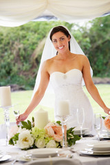 Portrait Of Bride In Marquee At Reception