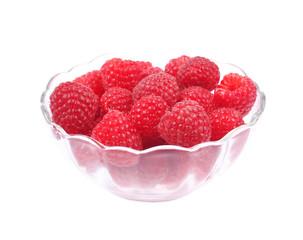 raspberries in small glass bowl
