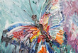 closeup fragment of oil painting butterfly