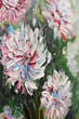 Closeup oil painting bouquet of peony flowers