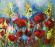 oil painting picture of red spring poppy