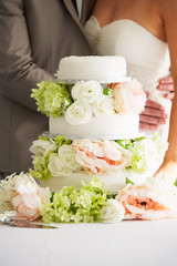Close Up Of Beautiful Wedding Cake