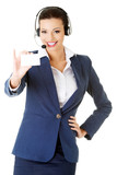 Customer service representative with headset holding a blank emp