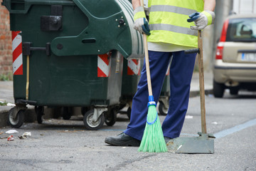 Street cleaning and sweeping with broom