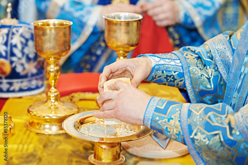 Orthodox Christian euharist sacrament ceremony