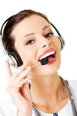 Happy woman doctor wearing headset.