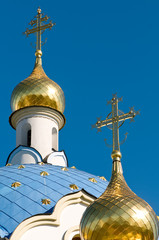 Domes and cross of orthodox church