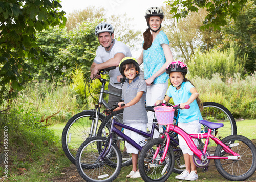 Family On Cycle Ride In Countryside