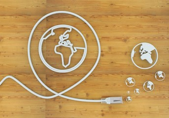 3d render of a international world icon formed by an cable