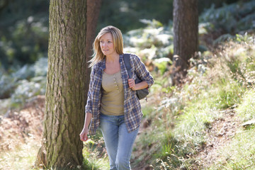 Woman On Country Walk Through Woodland