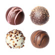 Chocolate candies collection. Belgian truffles isolated