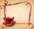 Retro holiday background with red rose and ribbons. Vector illus